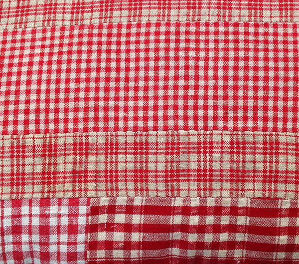 Red check patchwork cushion