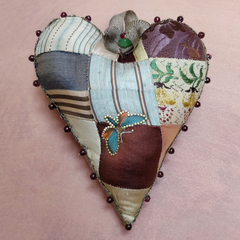 Silk patchwork heart