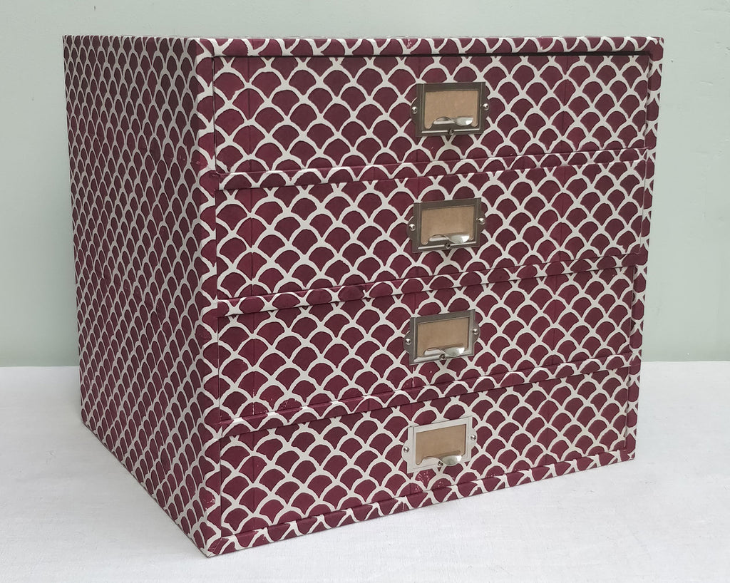 Dark red Dove breast paper covered Drawers