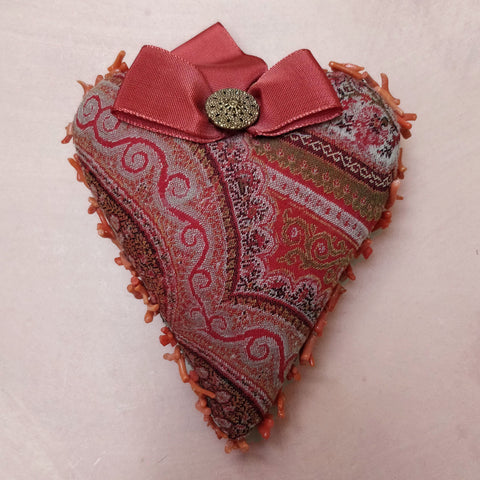 paisley & coral heart