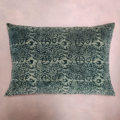 Japanese flower velvet cushion