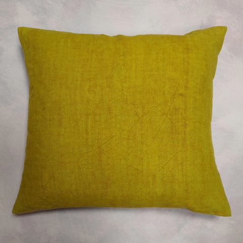 Hand painted mustard linen cushion