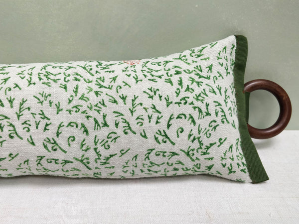 Hand block printed draught excluder