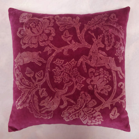 Stag red velvet cushion