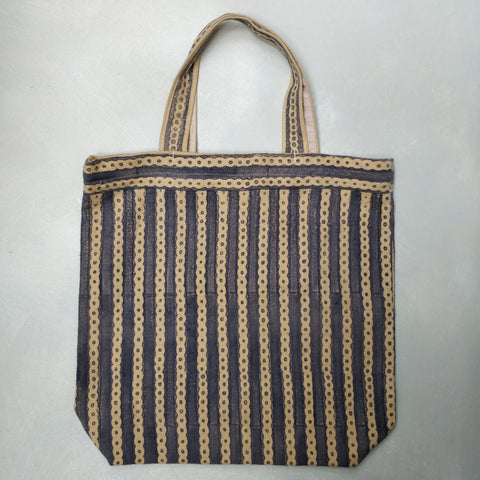 Dusky blue linen shopping bag