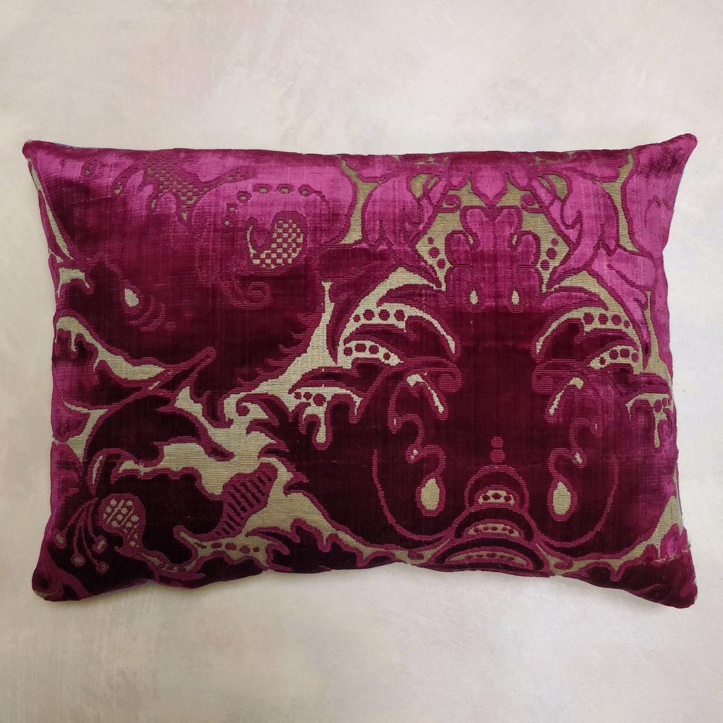 Early 18th Century voided silk velvet cushion
