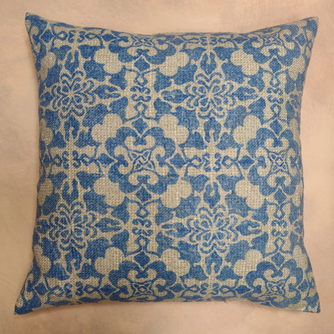 Tang, China Blue, hand block printed cushion