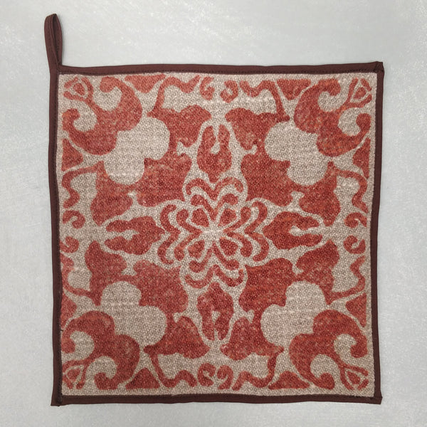 Hand block printed linen pot holder 2