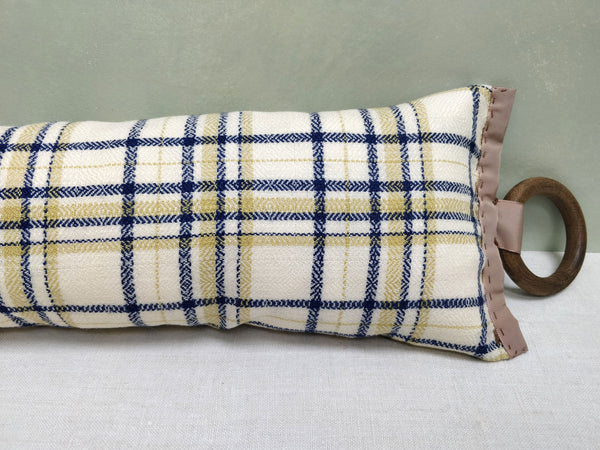 Cream plaid draught excluder