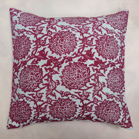 Dark red, peony cushion