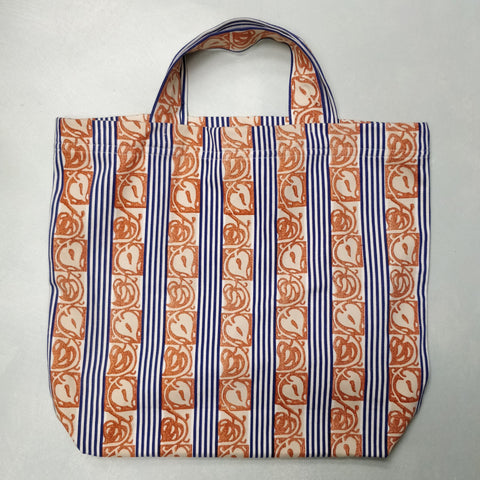 Ticking hand block printed shopping bag