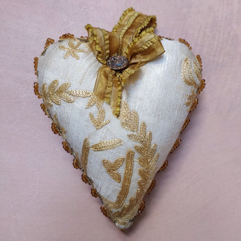 Embroidered & citrine heart