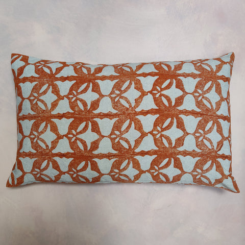 Burnt orange, bell & leaf cushion