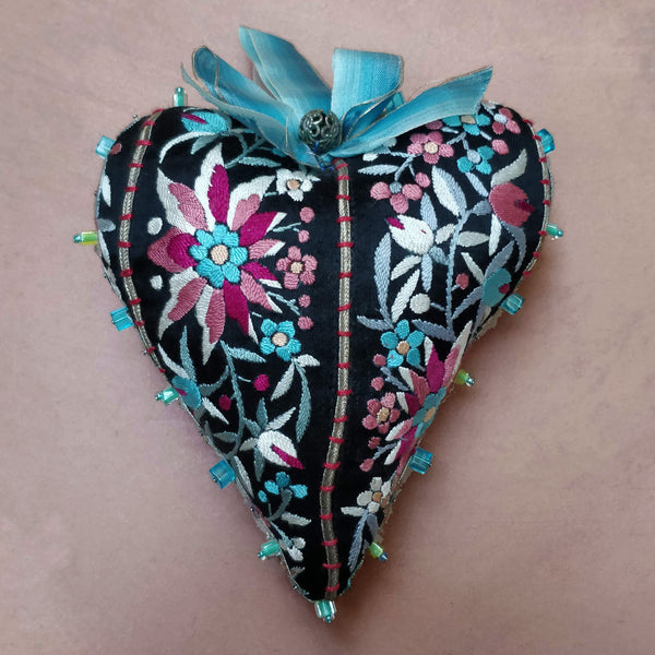Floral embroidered heart