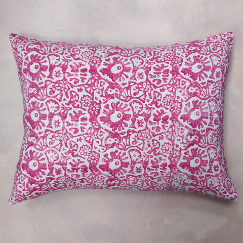 Bright pink Japanese flower cushion
