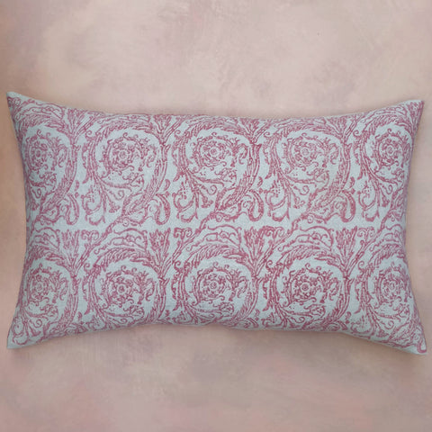 Rose & feather hand block print cushion