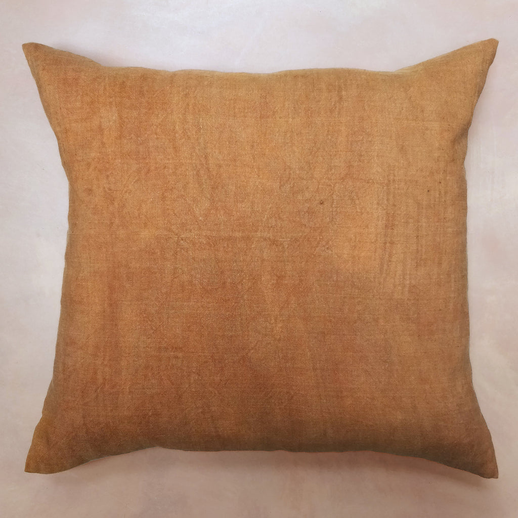 Hand painted burnt orange linen cushion