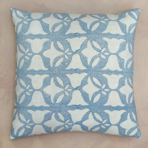 Bluebell & leaf hand block cushion