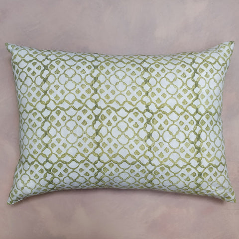 Green sard hand block printed cushion