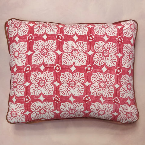 Blumen hand block rectangular cushion