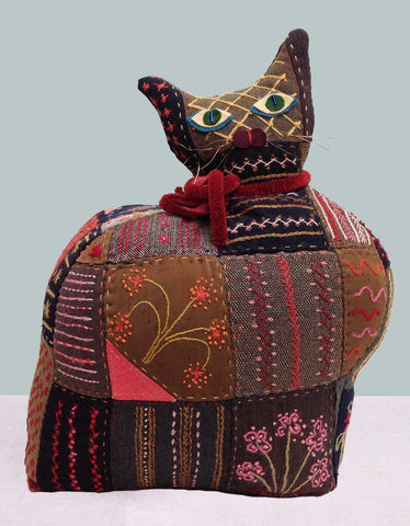 Embroidered cat doorstop
