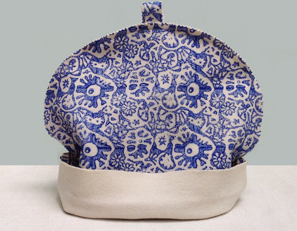 Blue hand block printed felt tea cosy