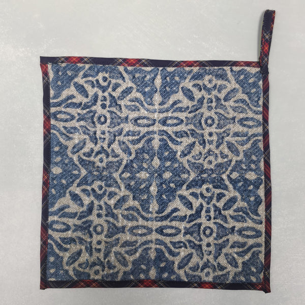 Hand block printed linen pot holder