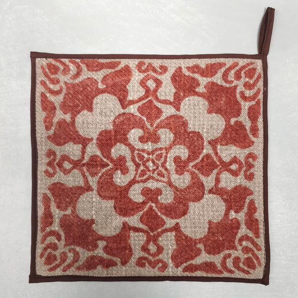 Hand block printed linen pot holder 1