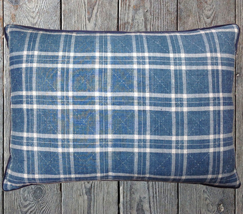 Large indigo plaid cushion
