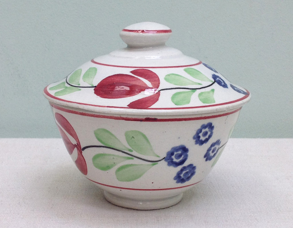 Spongeware lidded pot c1920