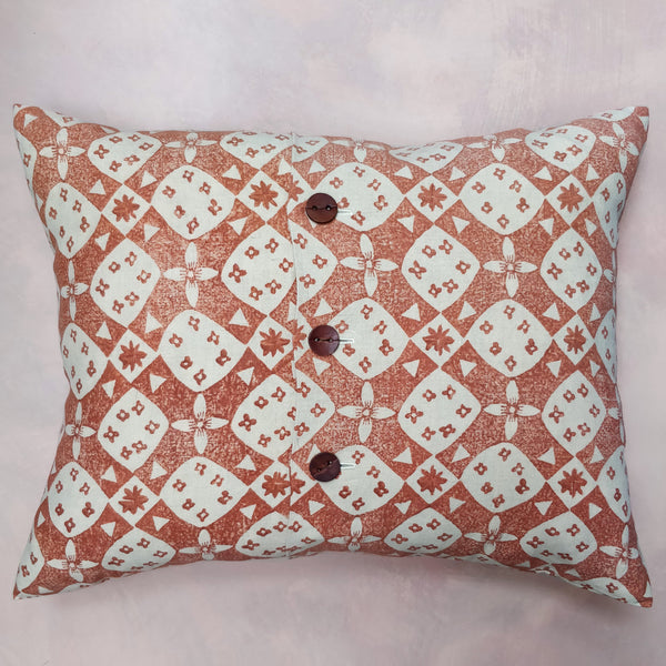 Foxy, cross & daisy hand block cushion