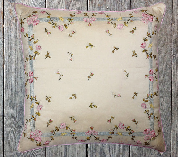 Antique silk ribbon cushion