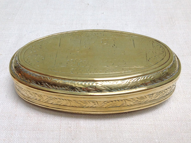 Brass Dutch tobacco tin, late 18th Century