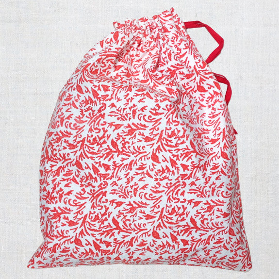Red hand bock printed Dorothy bag