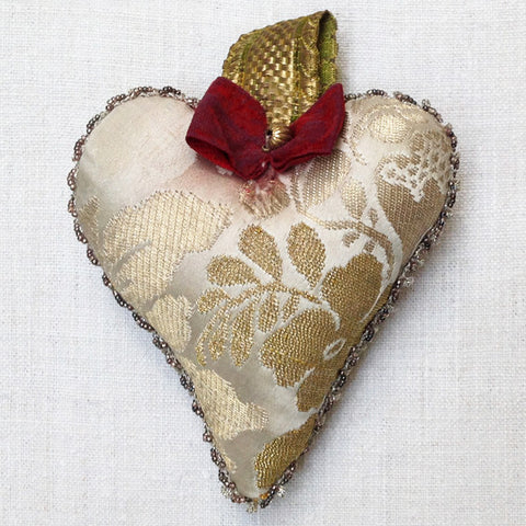 Gold silk damask heart
