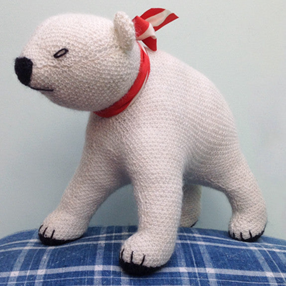 Hand knitted polar bear