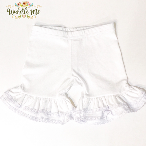 NEW 2019 White Crochet Trim Ruffled Shorties