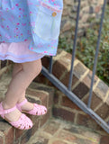 Pink Crochet Trim Ruffled Shorties