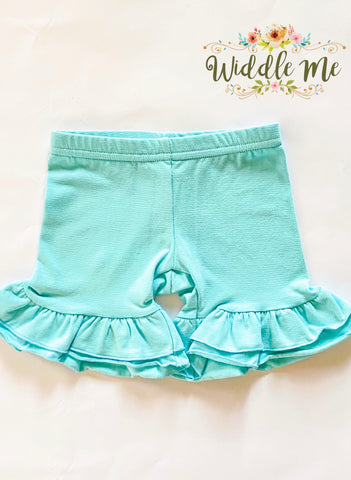 Aqua Ruffled Shorties