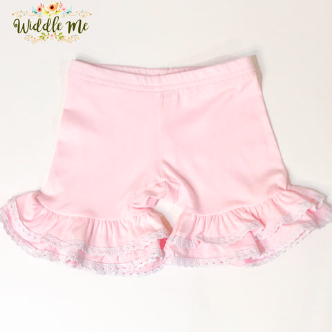 NEW 2019 Pink Crochet Trim Ruffled Shorties