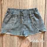 Coachella Chambray Shorts (Cream Trim)