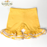 Yellow Crochet Trim Ruffled Shorties