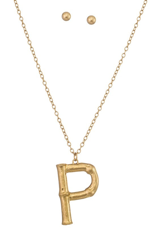 Bamboo Initial Necklace | Girly