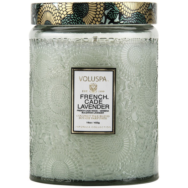 Large Embossed Glass Jar Candle - French Cade Lavender | voluspa