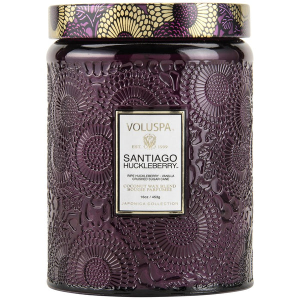 Large Embossed Glass Jar Candle - Santiago Huckleberry | voluspa