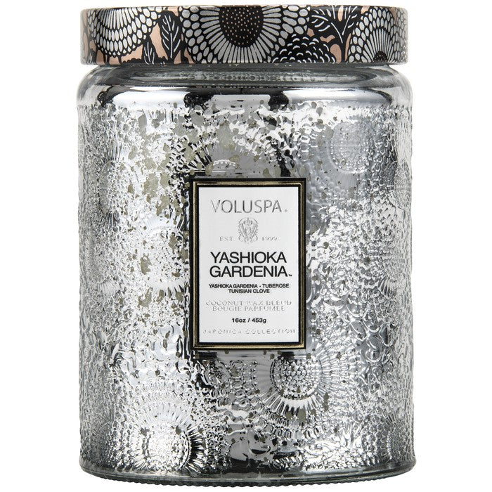 Large Embossed Glass Jar Candle - Yashioka Gardenia | voluspa