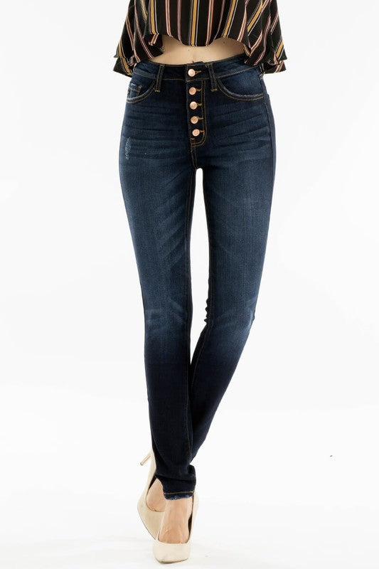 Demi Ultra High Waist Skinny Jean in Super Dark | Kancan