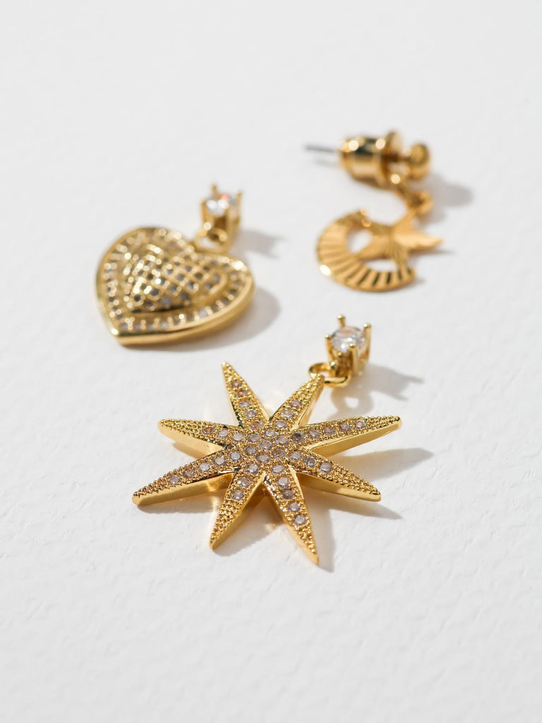 Vanessa Mooney The Starlover 24k Gold Plated Earrings