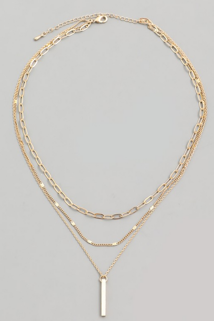 Layered Necklace with Bar