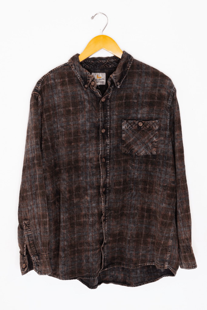 Acid Washed Flannel - Charcoal
